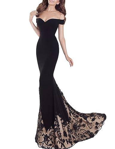 SeasonMall Women's Prom Dresses Mermaid Off The Shoulder Spandex & Tulle Dresses