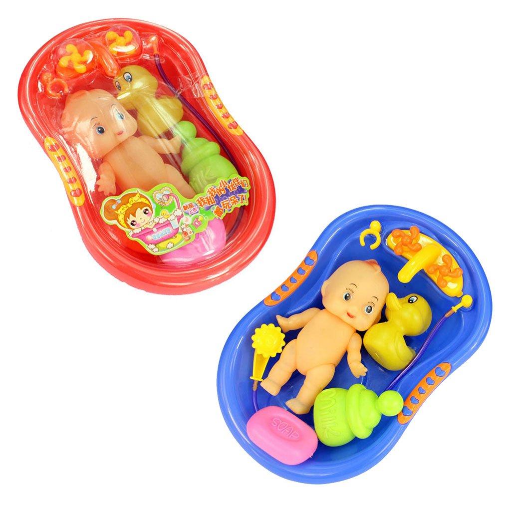 Buy Imported Orange Plastic Bathtub with Baby Doll Bath Toy Set ...