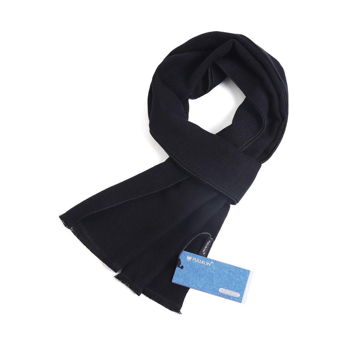 FULLRON Men Cashmere Winter Scarf Long Warm Scarves, Black Cotton Scarf for Men
