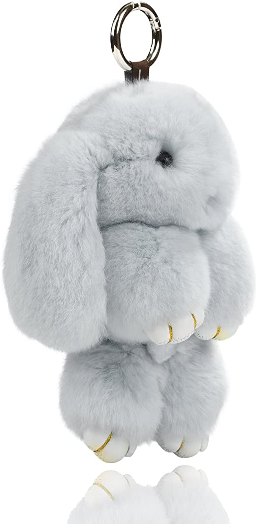 DISCOUNT SPECIAL OFFER Furry Grey charm handbag Keyring Extremely soft