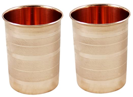 Set of 2, Dinner Glasses Pure Copper Cups Set Indian Drinkware Accessories, Height 4 Inches Glassware & Drinkware at amazon