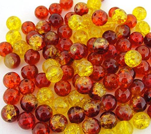 100pcs Mix Crackle Glass Round Beads 8mm