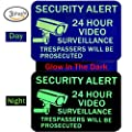Video Surveillance Sign Glow - No Trespassing Signs - Home & Business Security Stickers Self-Adhesive Decal - Security Alert 0.40 Aluminum - 3 Pack by Numplar