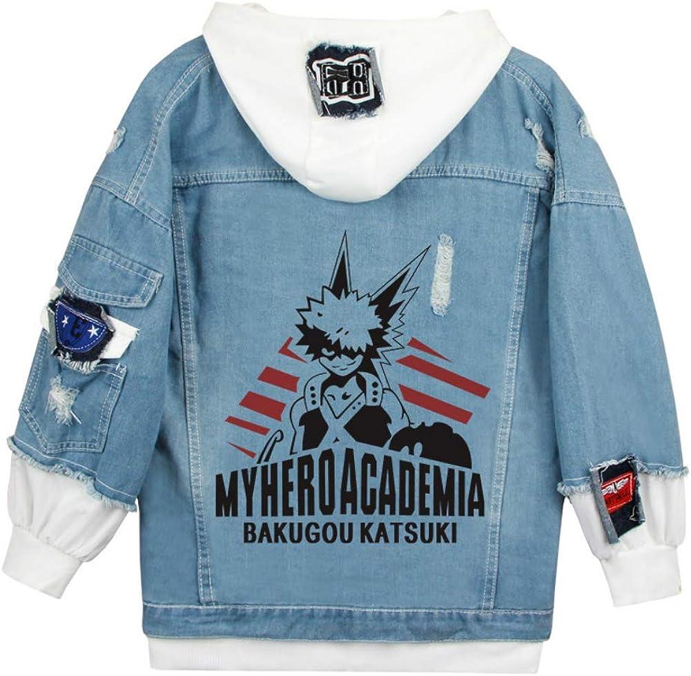 Unisex My Hero Academia Denim Jacket,Boku No Hero Academia Anime Cosplay Sweatshirt Graphic Hoodie