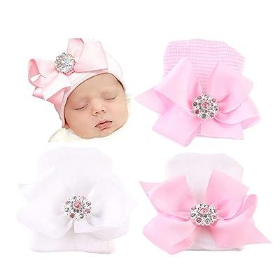 0-3 Months Baby Girl Hat Bow Beanies Handmade  Black Beige Set Of 2 Ecofriendly