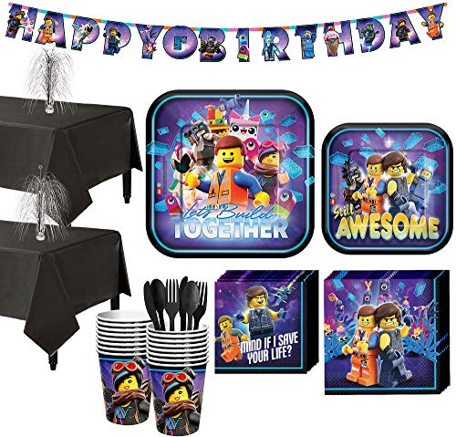 Party City The LEGO Movie 2: The Second Part Tableware Supplies for 16 Guests, Includes Table Covers, Banner Kit ()