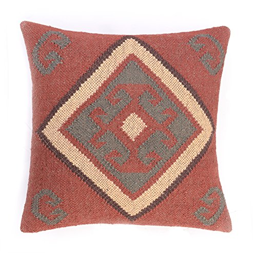 Vintage Kelim Pillow Case 18x18 Hand Woven Jute Rug Cushion Cover Rustic Pillow ()