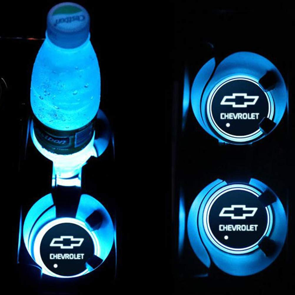 Audi T-MIX 2 Pezzi LED Car Logo Cup Holder Pads 7 Colori Changing USB Charging Mats Bottle Coasters Car Atmosphere Lamps
