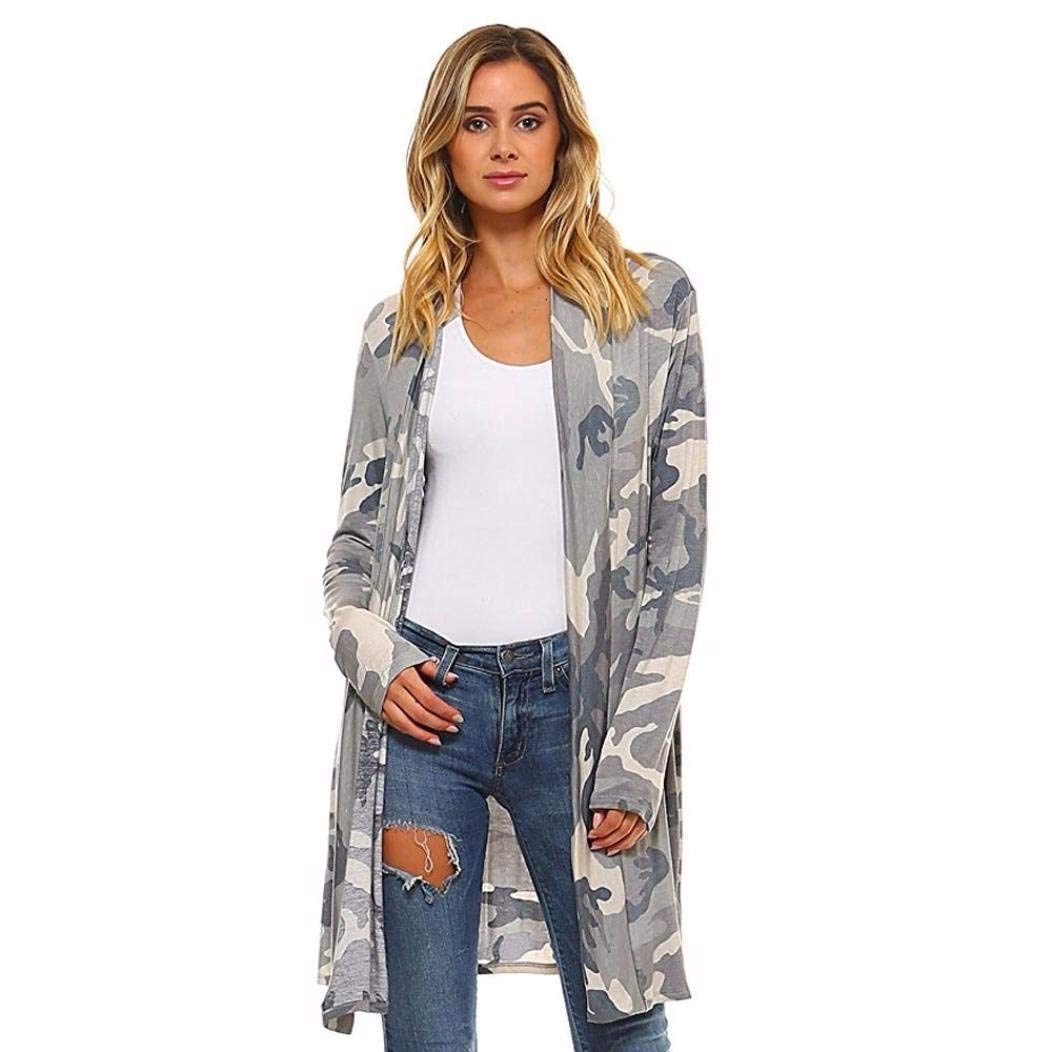 Go-First Womans Beach Cardigan Summer Lightweight Cozy Camouflage Swing Dress Classic Summer Cotton Elegant Long Sleeve Shawl (Color : Camuffamento, Size : S)