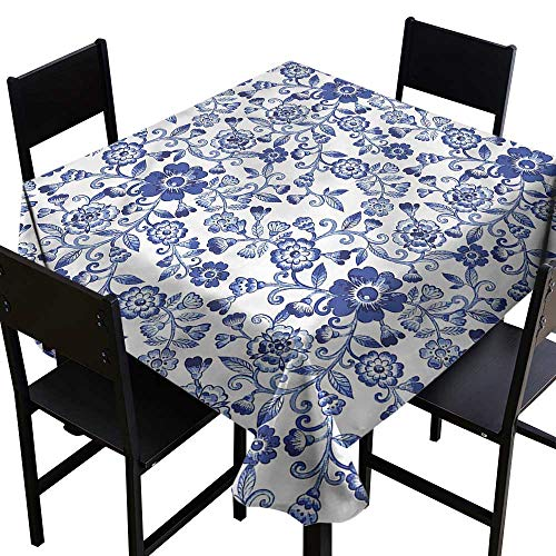 home1love Floral Tablecloth for Kids/Childrens Russian Folklore Motifs Resistant/Spill-Proof/Waterproof Table Cover 50 x 50 Inch