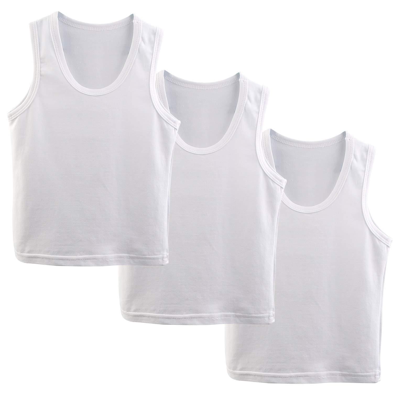 BOOPH 3-Pack White Boys Tanks Top Sleeveless Shirt Baby Toddler Undershirt Little boy 2-10 Year