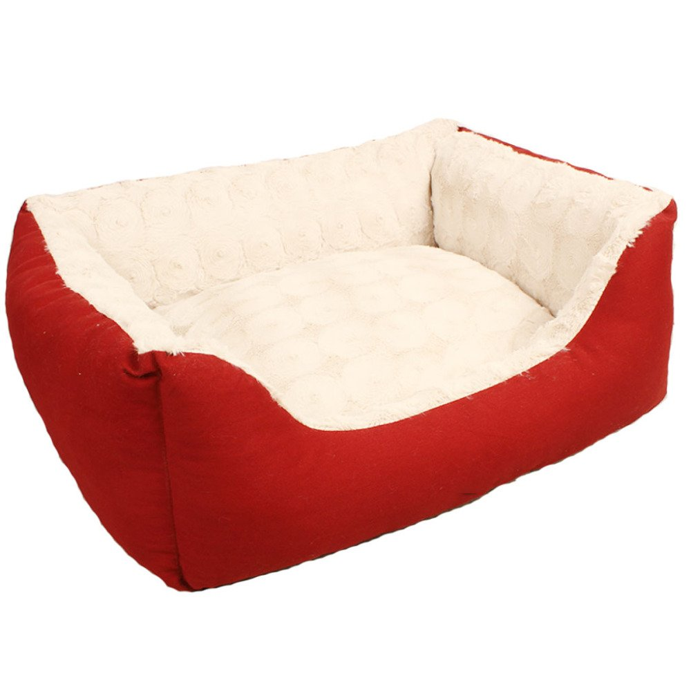 Red 6050cm Red 6050cm Dog bed LDFN Resistant To Bite Kennel Washable Four Seasons General Pet Mattress Sofa Cushions Pet Cat Litter,Red-60  50cm