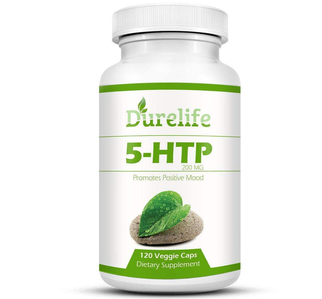 5-HTP Supplement 200 mg Per Veggie Capsule By DureLife, 120 count, Time Release With Vitamin B6 To Promote Positive Mood Stress Muscle Pain And A Restful Sleep