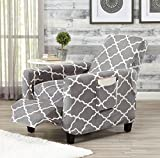 Great Bay Home Modern Velvet Plush Strapless Slipcover. Form Fit Stretch, Stylish Furniture Shield/Protector. Magnolia Collection Strapless Slipcover Brand. (Recliner, Grey)