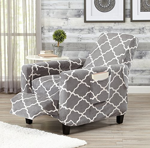 Strap Furniture Collections (Modern Velvet Plush Strapless Slipcover. Form Fit Stretch, Stylish Furniture Shield / Protector. Magnolia Collection Strapless Slipcover by Great Bay Home Brand. (Recliner, Grey))
