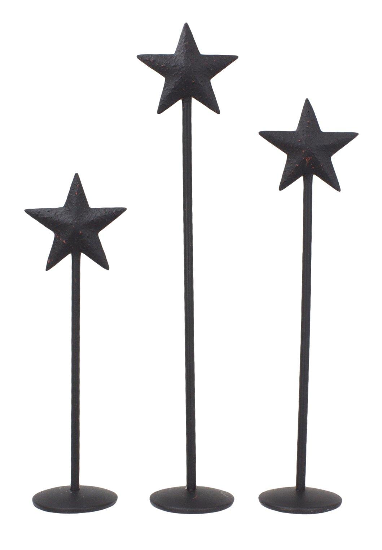 Bitty Star Metal Pedestals Set of 3 - 4'', 5'' & 6'' (Black)
