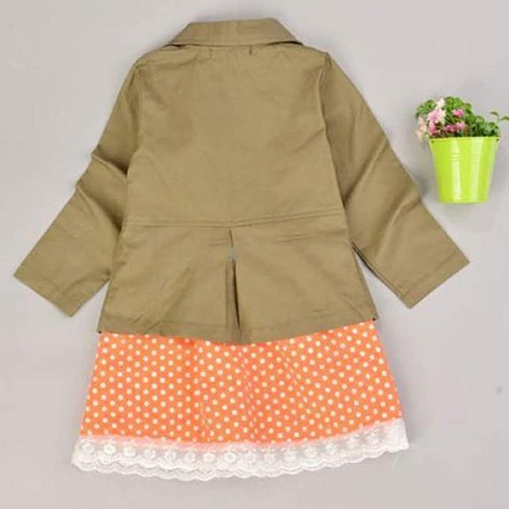GBSELL Fashion Kids Girl Coat Jacket Dot Dress Clothes Outfits Set