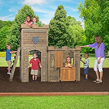 Castle Playhouse Cedar Wood Kids Outdoor Play Fun Garden Yard By