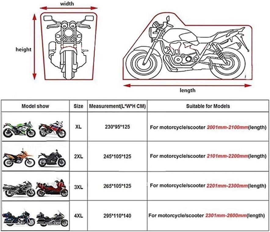 bolsa de almacenamiento compatible con Harley Davison Kawasaki Robasiom Suzuki protecci/ón solar Funda para motocicleta impermeable Yamaha resistente al polvo Honda
