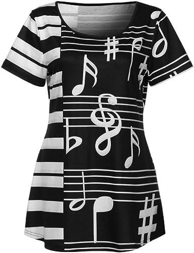 Alixyz Women T-Shirt Musical Note Printing Short Sleeve Casual Tops Fashion Blouse