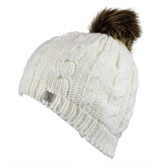 Olann White Bobble Hat - Irish Knit Thick Warm Winter Hat at Amazon Women s  Clothing store  3781e2aab8bd