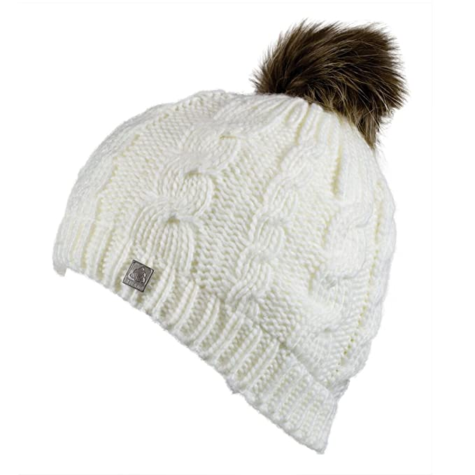 72934ebe823 Olann White Bobble Hat - Irish Knit Thick Warm Winter Hat at Amazon ...