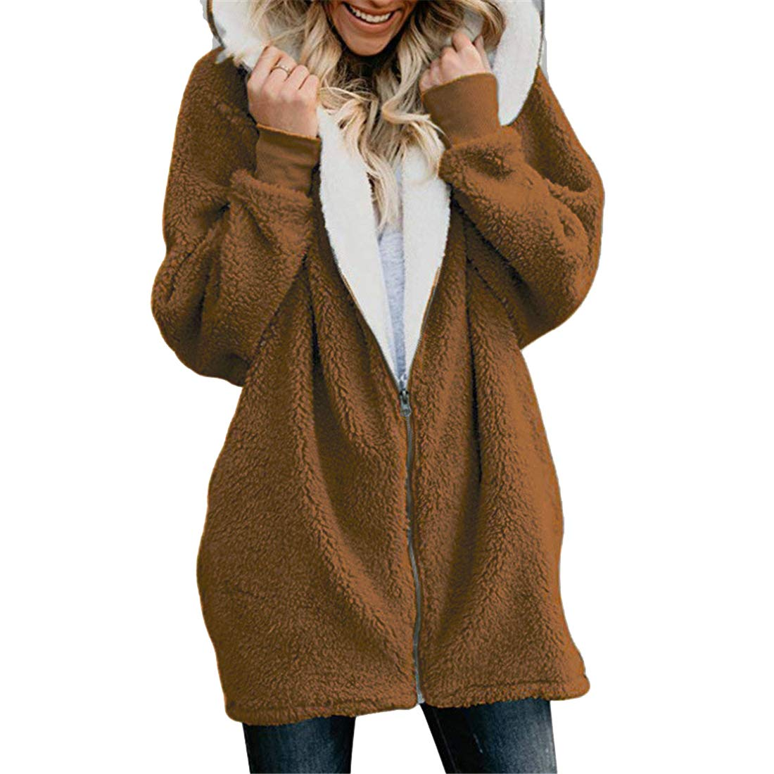 Jofemuho Womens Fluffy Plus Size Casual Loose Fit Hoodie Hooded Sweatshirt Coat Jacket
