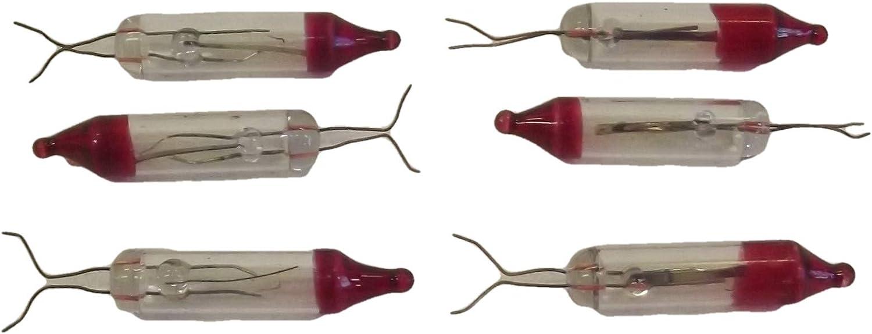 JL Missouri Parts 6 Bare Mini Bulb Flashers Christmas Tree Lights Replacement Bulbs 2.5 V .425 Incandescent Glass