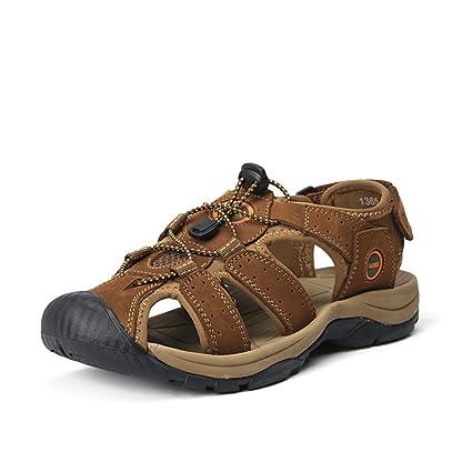 9d7c9c2ad5d6 Image Unavailable. Image not available for. Color  Men Leisure   Sandals  Summer Outdoor Large Size Sandals Men s Genuine Leather Wear Resistant