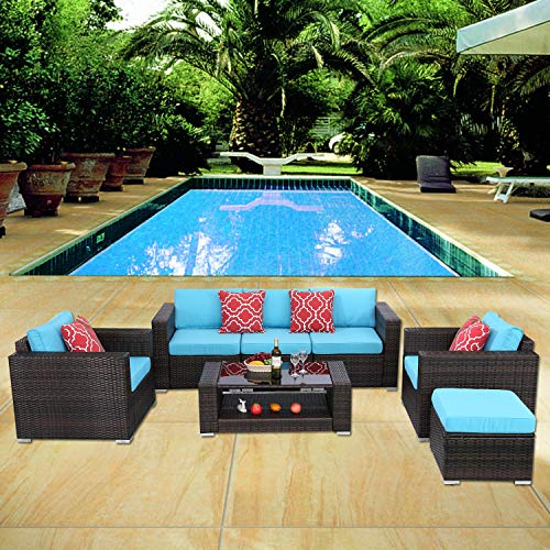 HTTH 7 Pieces Outdoor Patio Rattan Sofa Wicker Sets with Washable Cushions Conversation Garden Furniture Coffee Table Backyard (Turquoise)