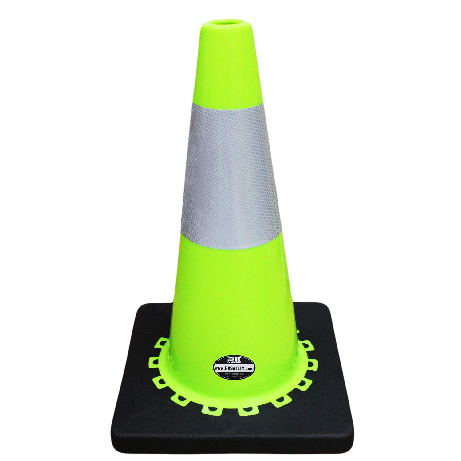 (Set of 6) 18'' Lime RK Safety Traffic PVC Cones with 6'' Reflective Collar, Black Base