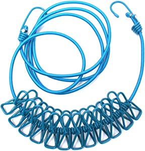 POLARHAWK Travel Clothesline, 12PCS Portable Travel Elastic Clothesline Adjustable Clothes Rope with Clothespins for Outdoor Indoor Use (Blue)
