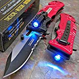 Tac-force Red Fire Fighter Led Tactical Rescue Pocket Knife