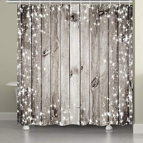 JAWO Wooden Shower Curtain for Bathroom,Sparkle Stars On Pale Gray Wooden Panel Barn Door Fabric Bathroom Decor Set with Shower Curtain Hooks