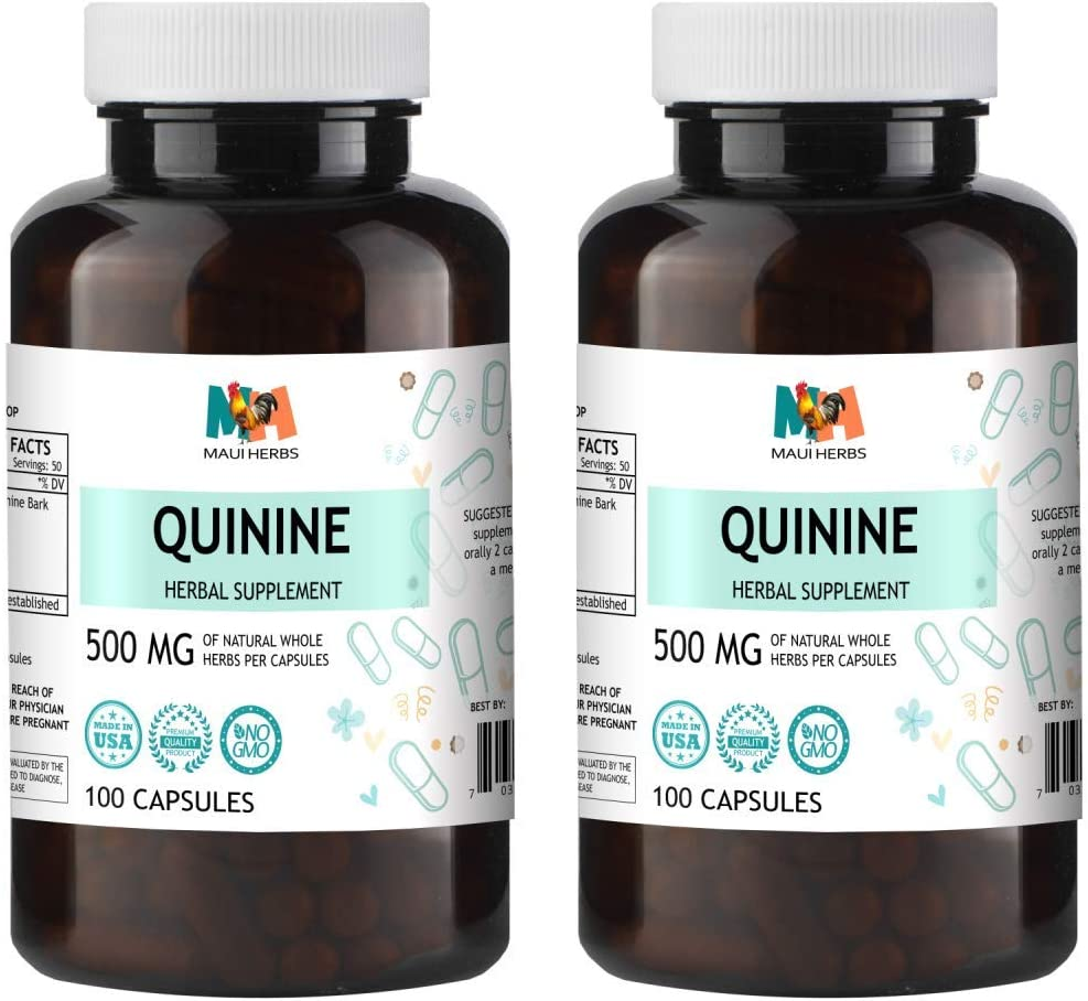 Quinine Capsules, 500 mg, Quinine Bark Cinchona officinalis 2×100 Capsules