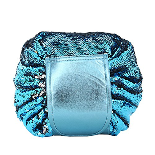 Makeup Bag, Reversible Sequin Makeup Bag for Women Large Capacity Women Makeup Toiletry Bag Storage Pack Bag (blue) (Drawstring Bag Reversible)