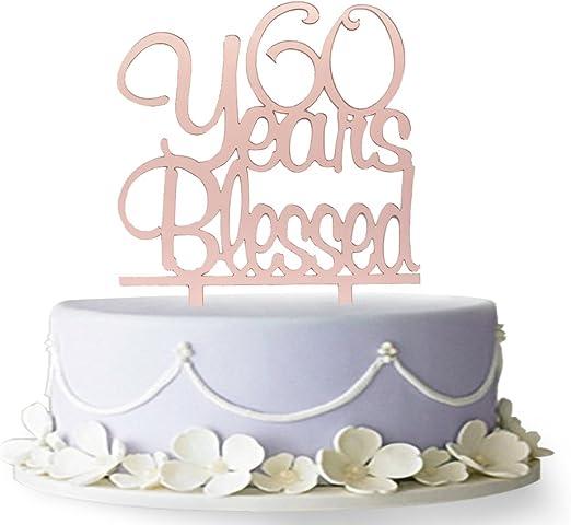 Amazon.com: Decoración para tarta de 60 años con bendición ...