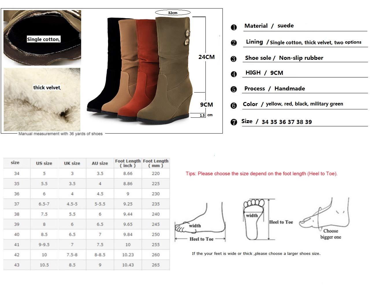 SHANGWU Damen Damen Keilstiefel Kalb Trainer Lässige Stiefel Winter Pelz Pelz Pelz Gefüttert Griffsohle Komfortable Warme Größe Reiter Dicke Turnschuhe e1c58d