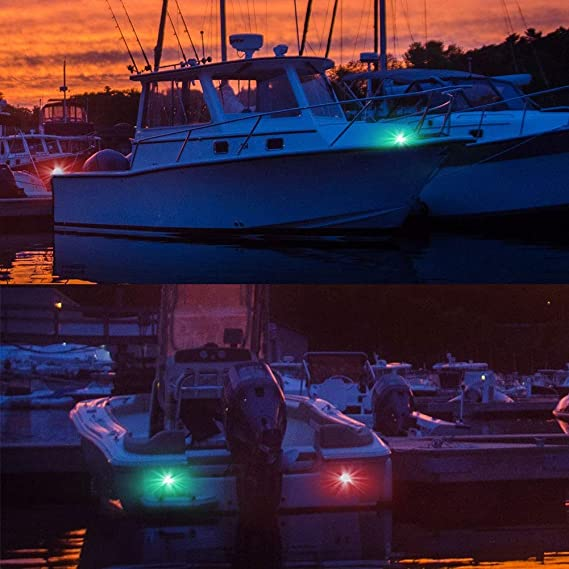Green Bow Side Navigation Lights 2pcs SS Boat Marine Flush Mount Red