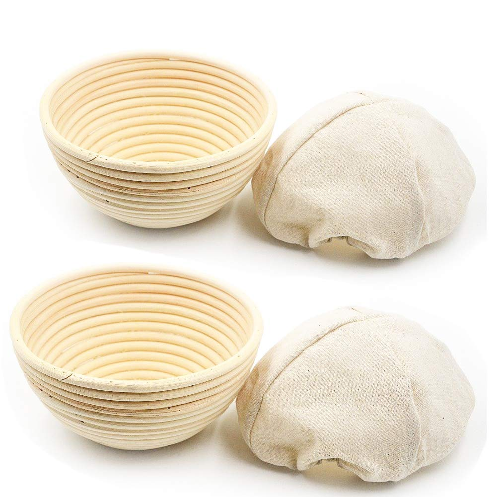 2 Pack of 7 Inch Round Brotform Banneton Proofing Baskets with Liner Bread Bowl for Baking Dough with Rising Pattern