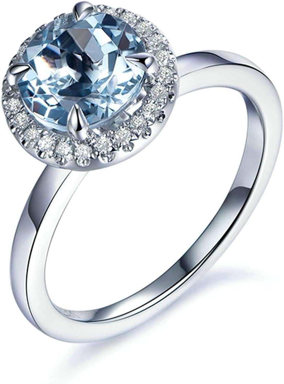 Daesar Anillos de Compromiso Mujer Oro Blanco 18K Anillo Redondo Aguamarina Azul 1.32ct Diamante 0.11ct