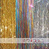 "300 Strands Three Amazing Colors 20"" Hair Tinsel: Sparkling Silver, Sparkling Gold, Shiny Rainbow"