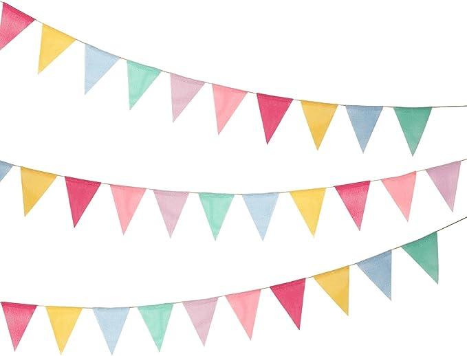Shappy 18 Banderas de Arpillera de Imitación, Banderines Banderas de Triángulo Multicolor para Decoración Colgante de Fiesta: Amazon.es: Juguetes y juegos