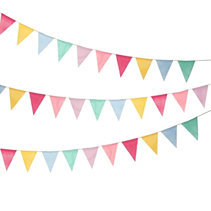 Shappy 18 Flags Imitated Burlap Pennant Banner Multicolor Fabric Triangle Flag Bunting For Party Hanging
