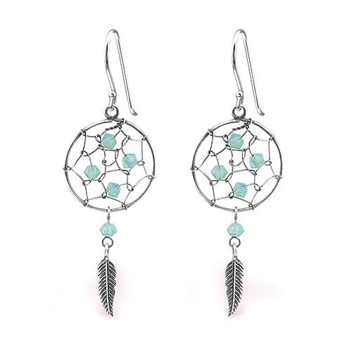 8fbd3f515 Dreamcatcher Earrings Crystals Swarovski Sterling Silver 925 (E31353)  (Pacific Opal)