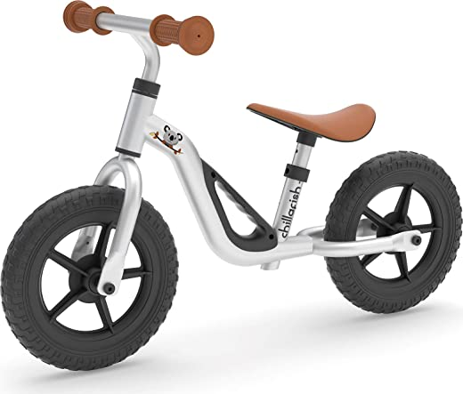 "Chillafish Charlie Lightweight Toddler Balance Bike, Cute Balance Trainer for 18-48 Months, Learn to Bike with 10"" inch no-Puncture Wheels, Adjustable seat and Carry Handle., Silver"