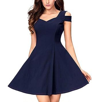 Vestido de verano para mujer de Shouder Frío – Saihui A-Line Sweetheart Swing Vestido