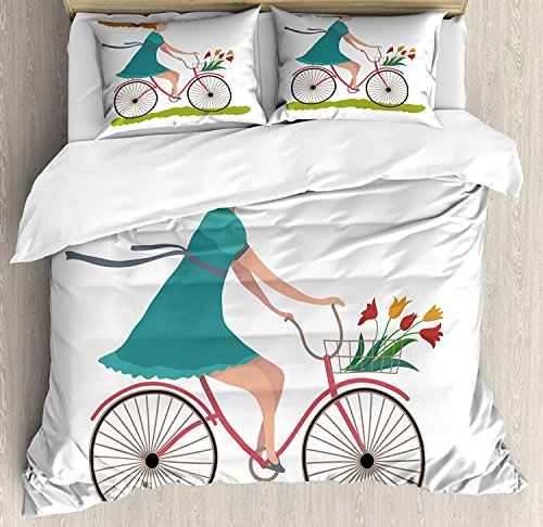Duvet Cover Set Bicycle Young Woman on Bike with Basket of Tulip Flowers Riding in the Spring Countryside Ultra Soft Durable Twill Plush 4 Pcs Bedding Sets for Childrens/Kids/Teens/Adults Queen Size