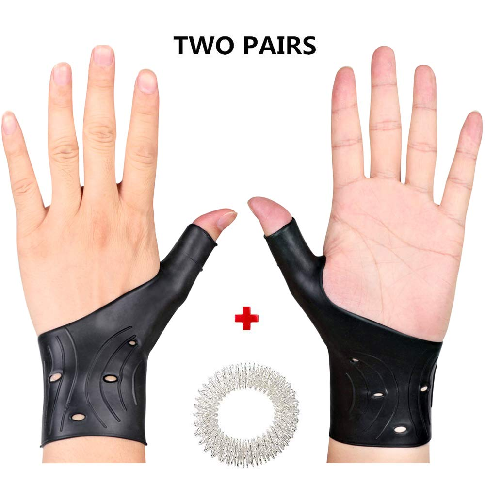 4 Pcs Waterproof Wrist Thumb Brace-Gel Thumb Wrist Brace for Typing Yoga Golf Workout and Sleeping,Silicon Wrist Brace for Carpal Tunnel & Tendonitis & Arthritis,Thumb Splint Support for Both Hands