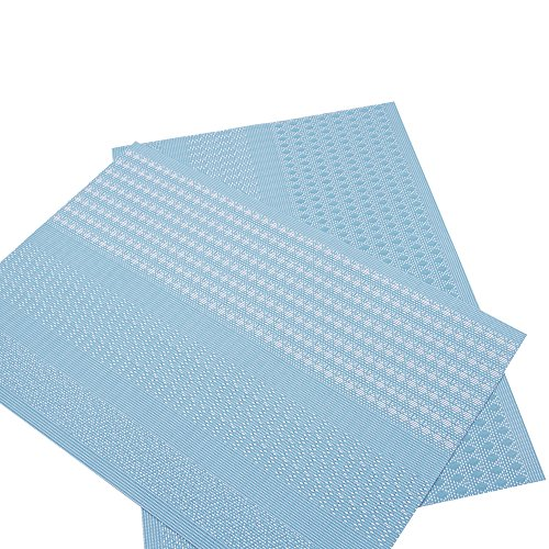 Furnily PVC Place Mats for Kitchen Table Set of 6 Heat Insulation Non Slip Plastic Dining Table Mats Crossweave Woven Placemats (Blue) by Furnily (Image #2)